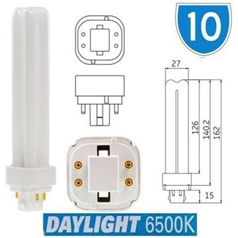 Confezione da 10 lampadine, GE, 42798,26W, Biax D/E, 4pin, PLC, G24q-3,plug-in, a risparmio energetico, luce giorno, 6500K, F26DBX/SPX65/865/4P