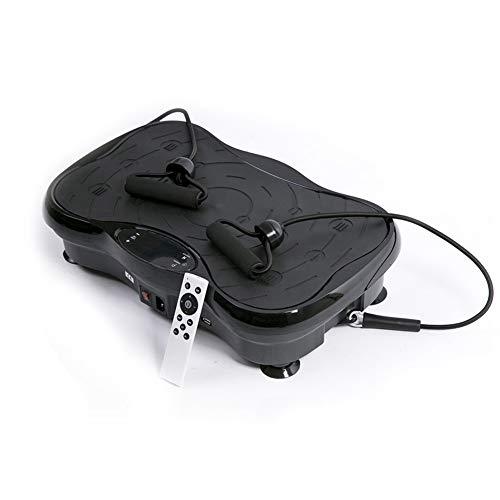 HSLIUYI Vibrationsplatte, Gewichtsverlust Entspannender Bauch 200W Stumm 53CM Große Standfläche Normale Ernährung 10 Sportarten Schneller Fettabbau Tragegewicht 150KG Schwarz