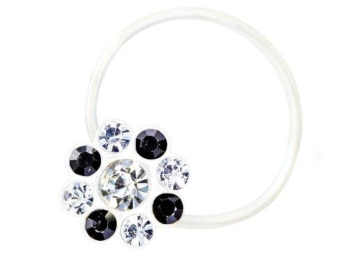 Zehenring Zirkonia Blume klar schwarz - 925 Sterling Silber - Fuß Schmuck Damen Fuß-Ring Toe-Ring