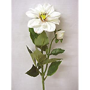 ARTIFICIAL FLOR DOBLE HOJAS DALIA BLANCO