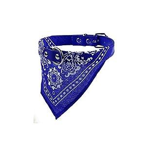 1pc en Cuir Bleu Collier de Chien réglable Foulard Chiot Chat Nouveau Mode Charme Chic Cou Foulard Banane, Bleu