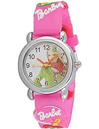 Barbie Analogue Black Dial Round Girl's Watch
