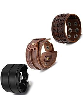 Cupimatch 3 Unisex Damen Herren Punk Rock verstellbar breit Leder Armband Set, Armreif Manschette Armband schwarz...