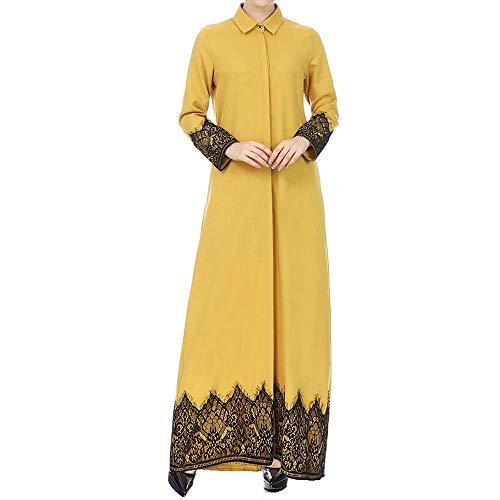 HDUFGJ Damen Beiläufige Lose Langarm Boho Maxi Kleid Muslimische Frauen Lace getrimmt vorne Abaya Muslim Maxi Kaftan Kimono EinreiherS(Gelb)