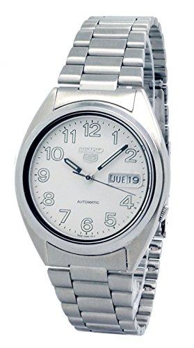 Seiko 5reloj de hombre acero inoxidable con esfera blanca y Automático Función–Reloj automático con función de calendario reloj de pulsera snxp15K