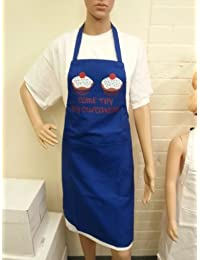 Novelty Aprons | Come Try my Cup Cakes | Royal Blue | Ideal Gift for Her