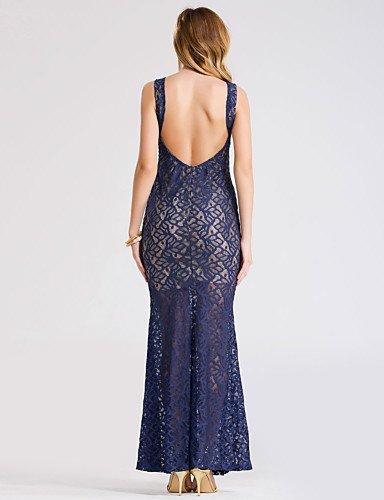 PU&PU Robe Aux femmes Lace Sexy,Couleur Pleine Col en U Maxi Acrylique / Polyester / Nylon / Spandex BLUE-S