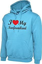 I Love Heart My foundland Dog Sky Blue Hoody Hooded Sweatshirt With Black Text & Red Heart