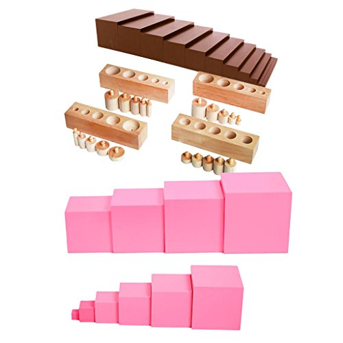 Sharplace Montessori Material Sensorial Hecho da Madera Nautral - Escalera de Color Marrón + Torre de Color Rosado + Bloque de Cilindro