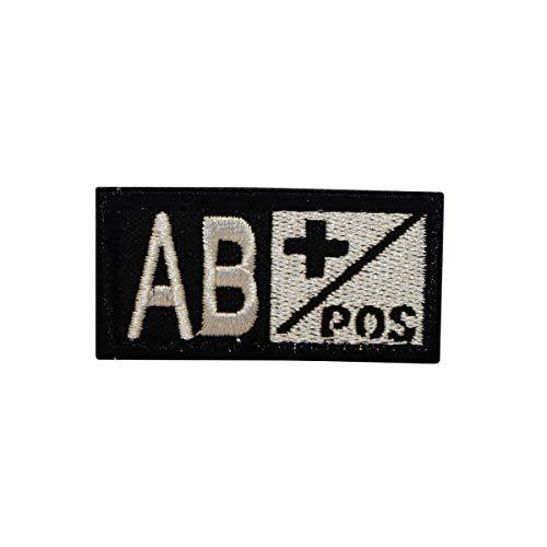 ions Military Embroidery Patch alle Blutgruppen Klett für Airsoft/Paintball für Taktische Rucksack, Kleidung. (AB+ Schwarz-Silber) ()