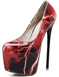 SHINIK Mujeres Ankle Strap Bombas Corte Zapatos Rayo De tacones altos Encanto Temperamento Bajo De La Boca Zapatos De Closed-Toe Bombas , red , 37