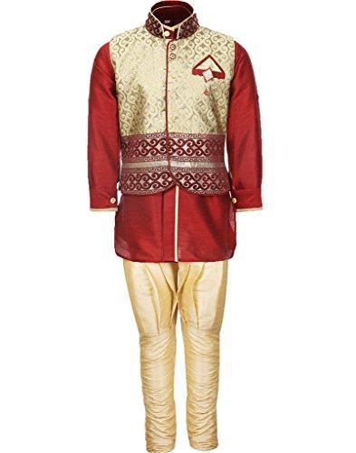 AJ Dezines Kids Kurta Pyjama Waistcoat Set for Boys (636_MAROON_5)