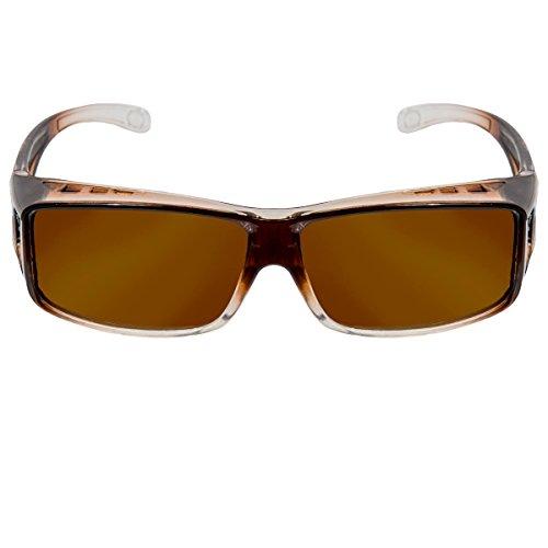 Sonnenbrille polarisiert Unisex Sonnen-Überbrille für Brillenträger, UV400 Überbrille polarisiert (Kaffee - Kaffee)