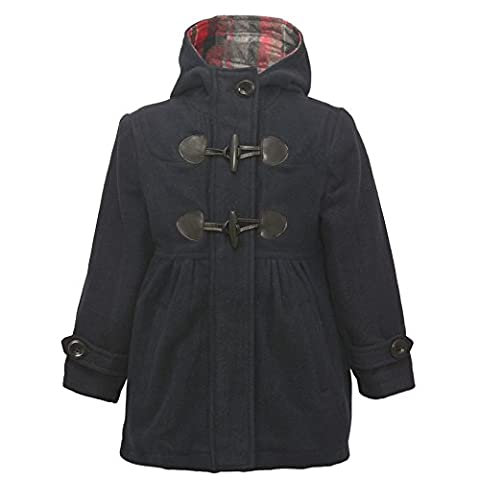 Rothschild Little Girls Navy Toggle Button Plaid Lining Hooded Coat