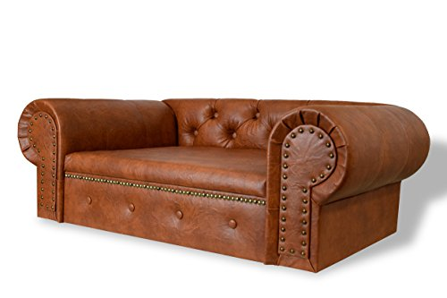 Hundesofa Hundebett Edy-Ohio Lux XL Büffelleder Imitat Antik Brandy Couch - 3
