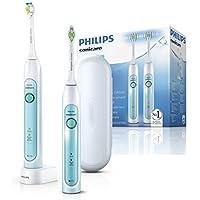 Philips Sonicare Healthy White HX6732/37 - Pack de dos cepillos con cabezal, para un mejor blanqueamiento, color azul