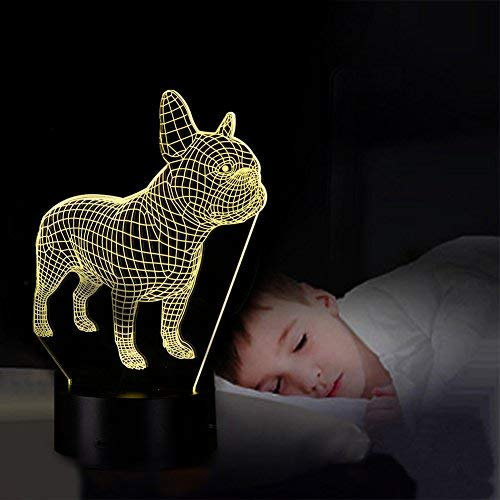 YKMY French Bulldog Dog Figure 3D Illusion Lamp Night Light with 7 Colors USB Powered Flashing Touch Switch, Bedroom Desk Lamp for kids Decoration Gifts