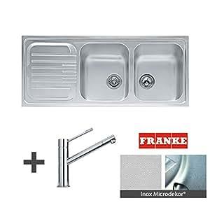 Franke - Évier de cuisine - Pack FUTURO MICRODEKOR ® Évier à encastrer 2 cuves + Mitigeur FROST