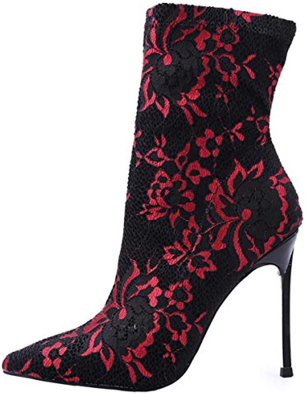 GTVERNH Moda Scarpe da Donna Sexy Pizzi dei Coloreei Zip Meta 'Stivale di 10Cm Appuntito Scarpe col Tacco Alto Slim...   Miglior Prezzo    Scolaro/Ragazze Scarpa