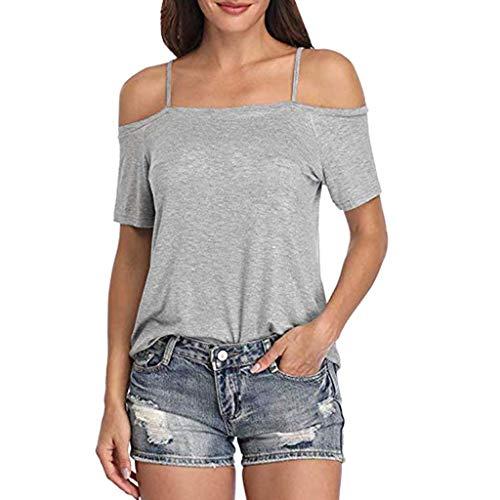 (CAOQAO Damen Kurzarm Riemchen Kalte Schulter Solide T-Shirt Tops Blusen Fitness-T-Shirt(XL,Grau))