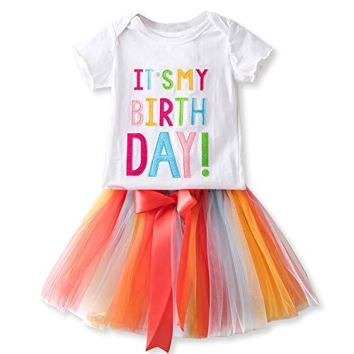 n Kleid Set Mädchen Es ist Mein Geburtstag Gedrucktes Baumwoll T-Shirt Tops + Regenbogen Ballett Tüll Kleid (Weiß, 3-4 Jahre) ()