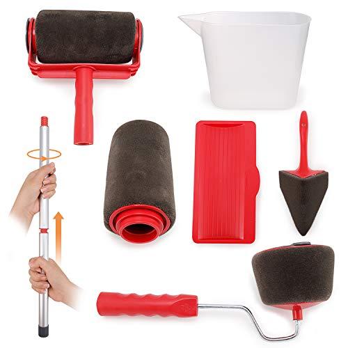 8pcs rodillo de pintura con mango y costura conjunto herramienta para pintor pared techo Décor Jardín Casa (Red)