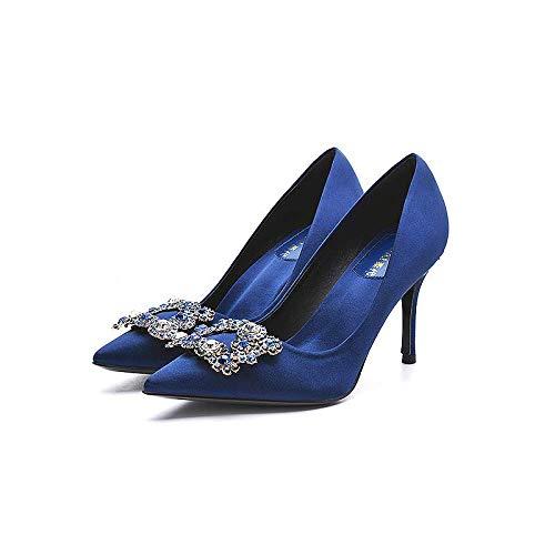 Uhrtimee Brautschuhe Damen 2019 New Red Strass Square Buckle High Heels wies flachen Mund einzelne Schuhe Kleid Brautjungfer Braut Schuhe, 34, Royal Blue [High 9Cm] China Blue Royal Satin