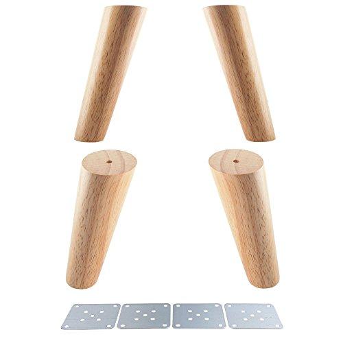 Glvanc Möbelbeine Eiche, zuverlässiges Produkt, mit Eisenplatten, für Schrank, Möbel, Sofa, Tisch, Set mit 4 Möbelbeinen (Höhe 12/15/18/20/30cm) Schrank-füße Aus Holz