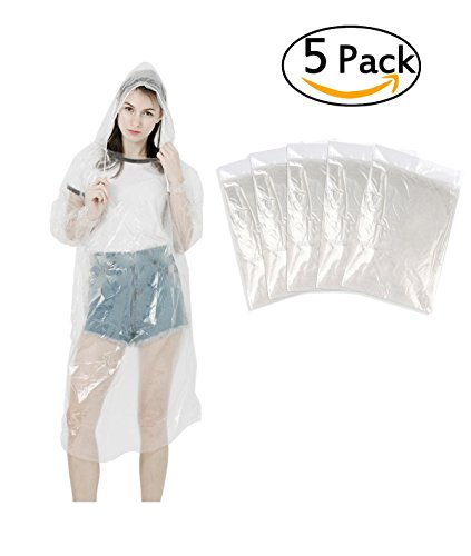 Produktbild LEBEXY Einweg Regenponcho mit Kapuze Transparent 5 Stück