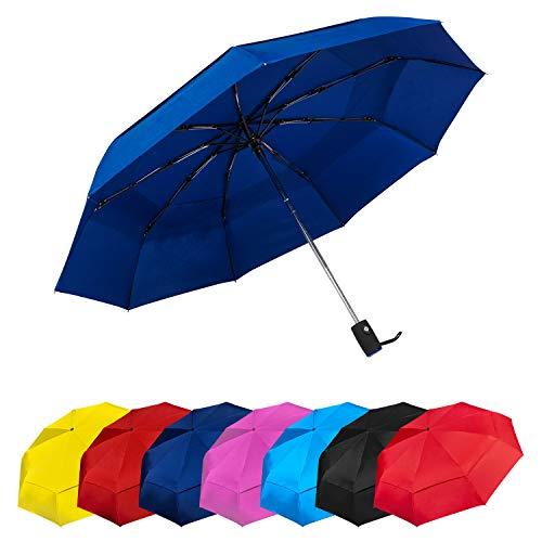 Paraguas Plegables Automático Antiviento. Paraguas Originales de Colores Mujer Hombre Ligero Resistente y Compacto. Tela Reforzada de DOBLE CAPA T210 con TEFLON. Varillas de Carbono. Garantía Calidad