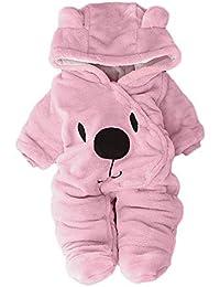 ZHRUI Newborn Infant Baby Girls Clothes, patrón de dibujos animados sólido lindo estampado con capucha mameluco cálido franela…