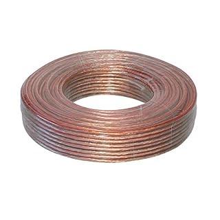 Câble de Haut-Parleur Rond Transparent CCA avec marquage au mètre 20 m 2 x 2,5 mm²