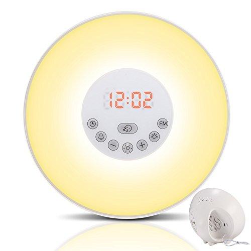 Wake-up Light, Sveglia Luminosa con Simulazione Alba / Tramonto Sveglia con 6 Allarmi, Musica e Funzione Snooze, Funzione Radio FM, 5 Colori per Sensori Tattili di Luce di Notte Comodino Luce (6640)