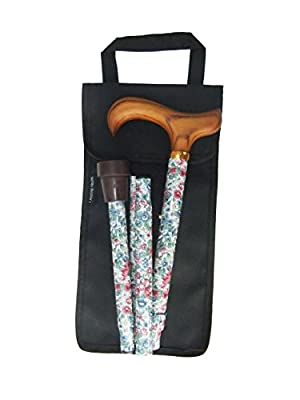 Folding Floral height adjustable Walking Stick with Smart handle and Free Carry Case