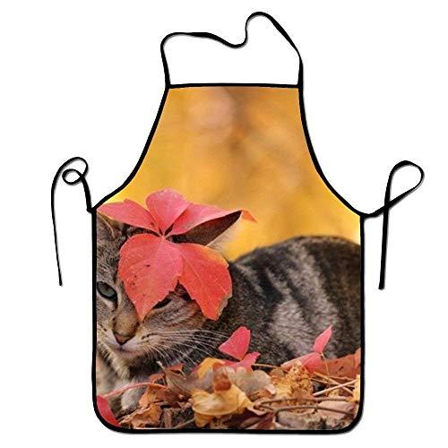 gatetop Katzen-Weihnachtsrote Sankt-Hut-Schatz-Kochs-Küchen-Schürze, die genähte Ränder im Garten arbeitet (Hut-kuchen Katze Im)