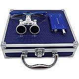 3,5x 420mm Distancia de trabajo quirúrgico Binocular Loupes cristal óptico con led cabeza luz lámpara y caja de aluminio azul por caliente Dental