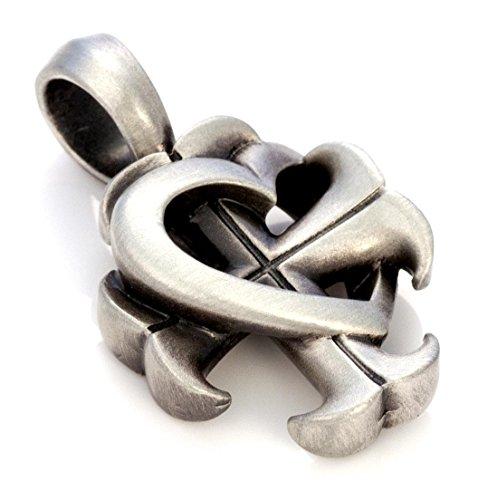 (Bico Herren Croix De Coeur Anhänger (E340) - Glaube, Hoffnung und Liebe, die Kraft der Ergebenheit - Satiniertes Silber)