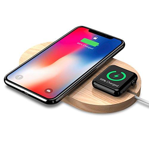 Apple Pad (Apple Watch Wireless Ladegerät, Rhidon Holz Qi Wireless Charger Pad mit Induktive Ladestation für iPhone X / 8/8 Plus / Samsung Galaxy S8 / S8 Plus und Apple Watch 38mm 42mm Serie 3 Serie 2 Serie 1)