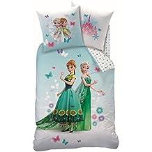 CTI Juego de cama de linón de Disney, diseño de Frozen, funda de 135 x 200 cm + almohada de 80 x 80 cm