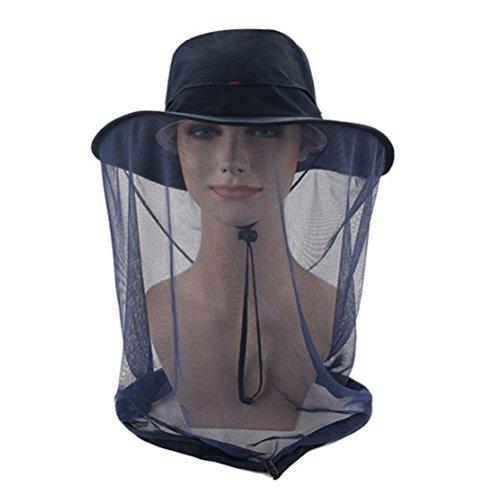 WINOMO Gorra anti-mosquitos para la cabeza al aire libre Gorra anti-UV Flap Cap Fishing (Azul oscuro)