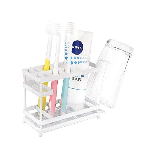 vanra Metall Zahnbürstenhalter Halterung-Organizer Aufbewahrung von Bad Zahnpasta & Countertop Veranstalter Make-up weiß