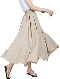 Evedaily Femme Jupe Longue Taille Haute Plissé Taille Élastique en Coton  Lin ... 8c0ddfe87411