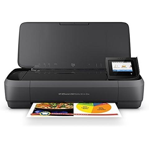 HP OfficeJet 250 CZ992A Stampante All-in-One Portatile, Funzione Stampa/Copia/Scansione, 4800x1200, Nero
