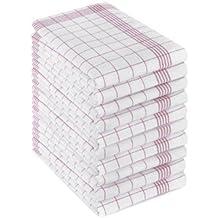 Lot de 10 torchons 100 % coton 50 x 70 cm 50 x 70 cm rouge