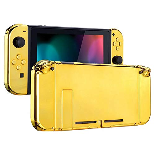 eXtremeRate Case Hülle Gehäuse Schutzhülle Cover Schale Tasche Shell Kit für Nintendo Switch Console, NS Joycon Controller mit Buttons, DIY-Ersatzschale für Nintendo Switch(Chrome Golden)