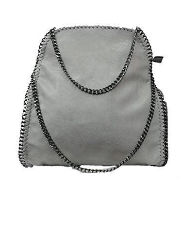 Handtasche VIVIEN Lederlook Damen Schultertaschen mit Kette (D Grau 02)