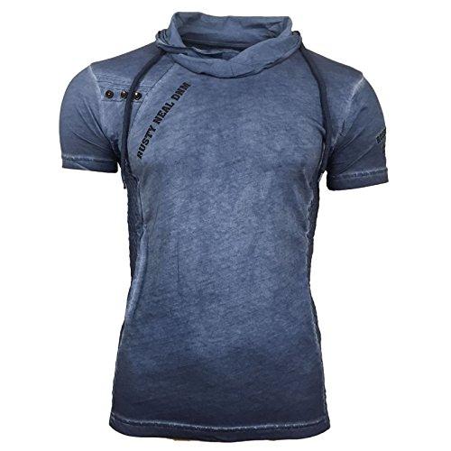 T-Shirt Kordelzug Hoher Kragen Polo Gelb Grau Anthrazit Blau A16780 Avroni Blau