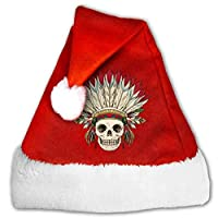 tyutrir Santa Hat Indian Skull Classic Christmas Hat with White Cuffs Party Costume for Adults Kids Two Sizes 19212