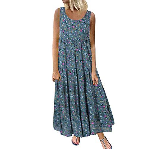 Frauen plus Größe beiläufiges loses sleeveless tägliches Leinenblumendruck-langes Maxi Kleid Loses, kurzärmeliges Kleid mit Rundhalsausschnitt aus Baumwolle und Leinen im Ethno-Stil - Frauen Größe 12 Jeans