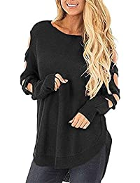 45071f8c349446 Damen Strickpullover Rovinci Casual Langarm Sweater Pullover Cut Out Strick  Langarmshirt Einfarbig Rundhals Strickpulli Lose T